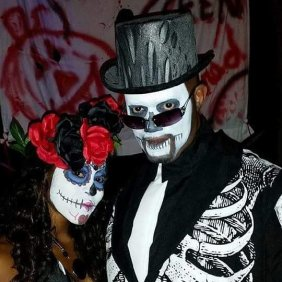 sugar skulls halloween ammie leonards and husband 2014